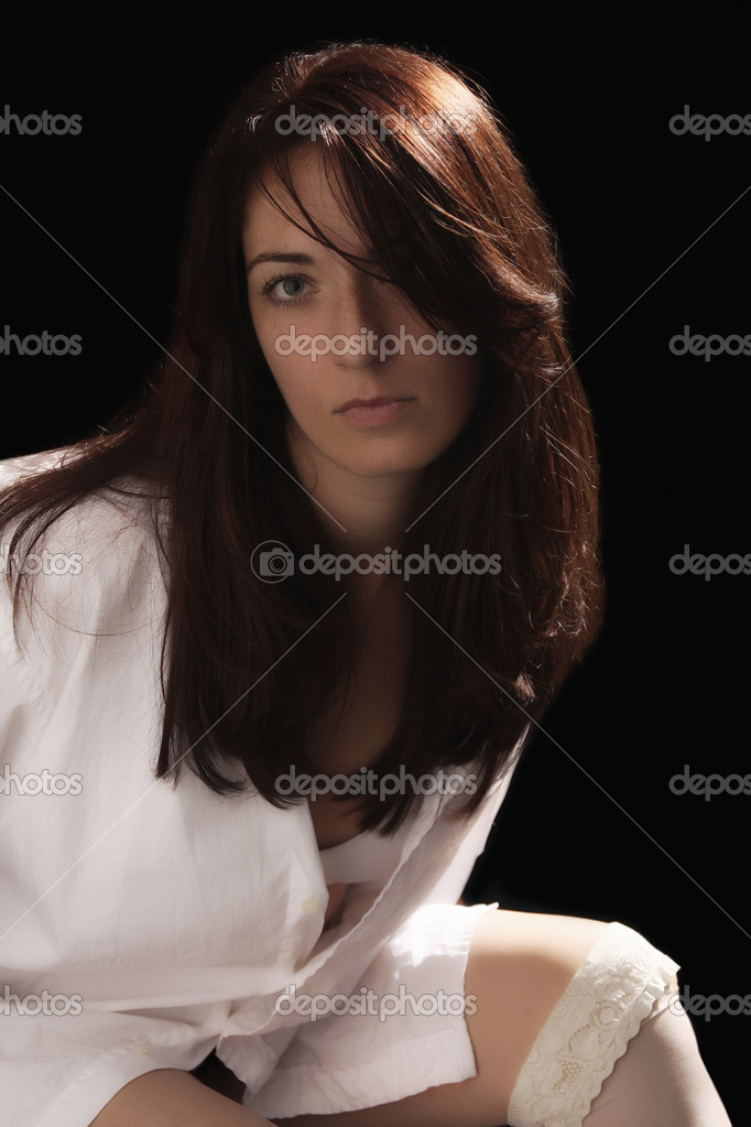 Attractive young fashion model posing on dark background   — Stock Photo #1916981