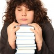 Boy unhappy and many books — Stock Photo