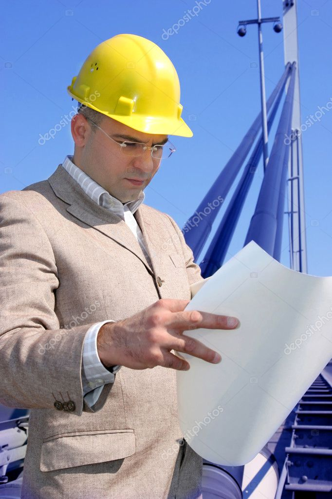 Architect with architectural plans — Stock Photo #2181002