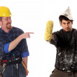 Construction worker and house painter — Stock Photo