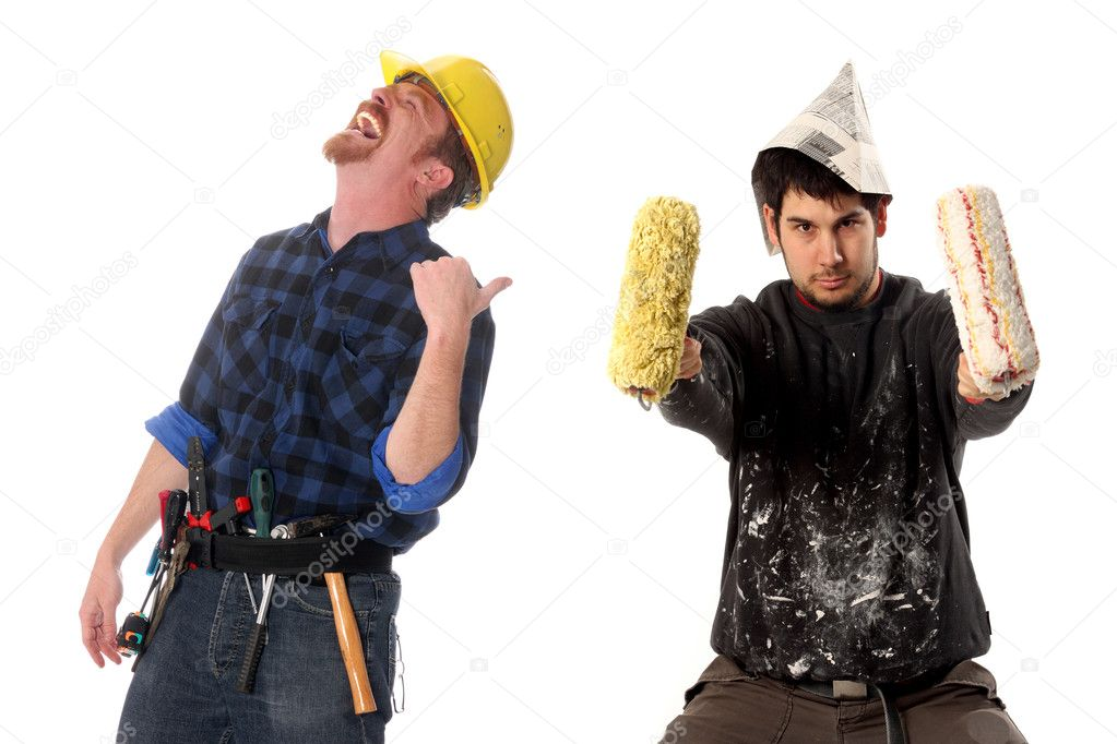 Construction worker tittering and house painter in style cow-boy with paint roller  Stock Photo #2227674
