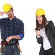 Businesswoman and construction worker — Stock Photo #2239887