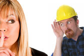 Businesswoman and construction worker — Stock Photo
