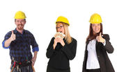 Businesswoman with cash and colleague — Stock Photo