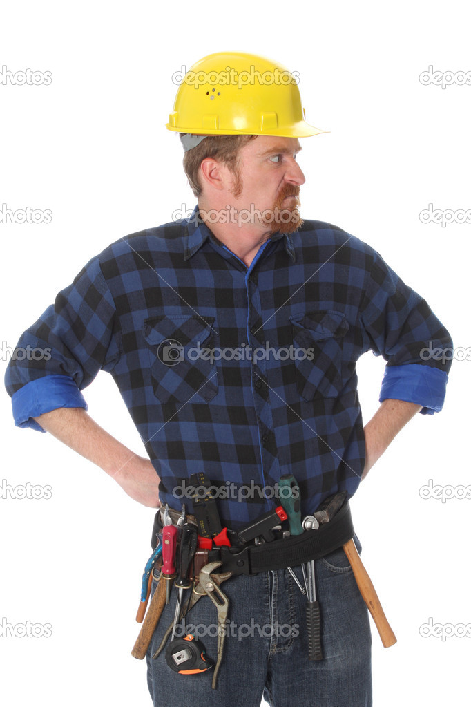 Angry construction worker with helmet on white background — Stock Photo #2273010