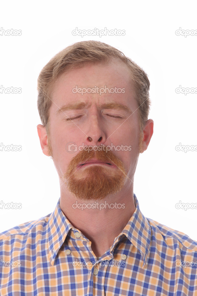 Portrait of man crying, on white background  — Stock Photo #2274300