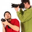 Professional photographer in action — Stock Photo
