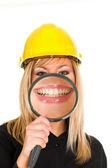 Businesswoman, big smiling — Stock Photo