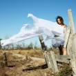 The bared girl model under a white veil — Foto de Stock