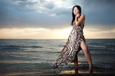 Asian beauty on the beach — Foto Stock