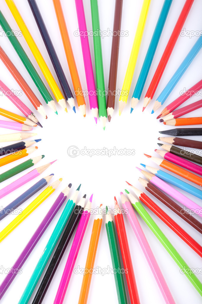 Colour pencils laid out in the form of heart — Stock Photo #2444989