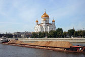 Barge with sand on the Moscow River — Stock Photo