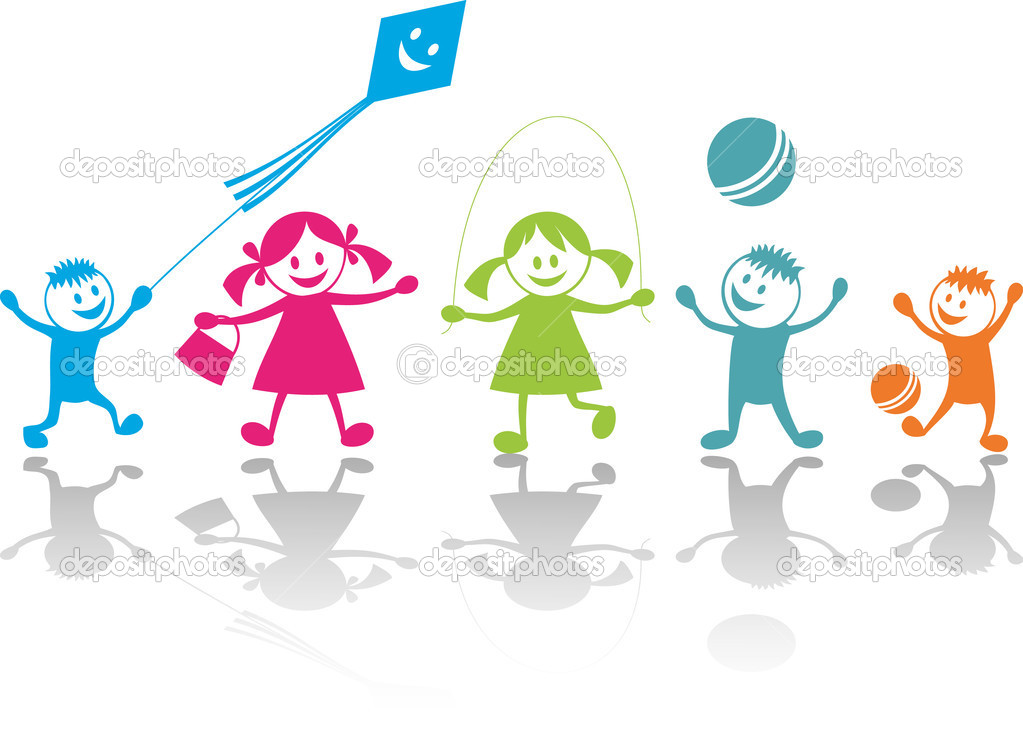 Cheerful playing children.Vector  illustration — ベクター素材ストック #1654879