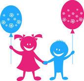 Happy children with balloons — Stock Vector