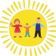 Stock Vector: Happy family on sun background.