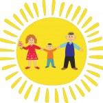 太阳背景上的幸福家庭 — 图库矢量图片
