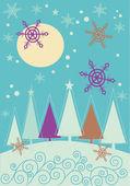 Paisaje de navidad con abeto del invierno — Vector de stock