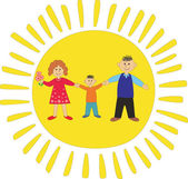 Happy family on sun background. — Stock Vector