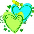 Royalty-Free Stock Imagen vectorial: Love: two heart and birds