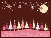 冬のモミの木とクリスマスの風景 — ストックベクタ