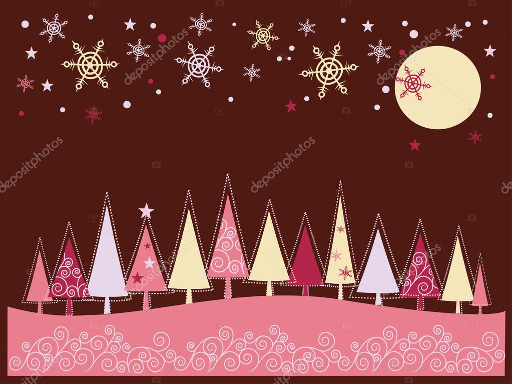 Winter Christmas landscape with fir tree forest and snowflakes — Imagen vectorial #1865938