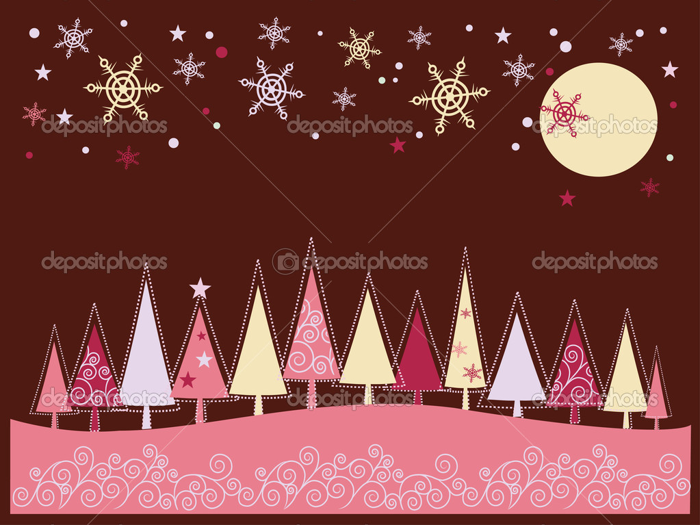 Winter Christmas landscape with fir tree forest and snowflakes — Stock vektor #1865938