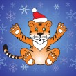 Stock Vector: Tiger santa