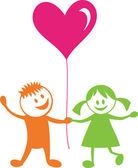 Happy children with heart — Stock Vector