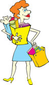 Shopping woman with bags — Stock Vector
