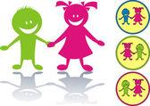 Happy children icon — Stock Vector
