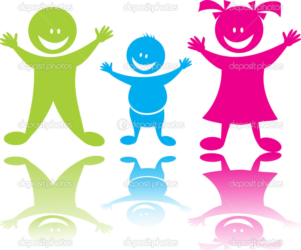 Cheerful happy children boys and girl in color, vector art  Stock Vector #2400364
