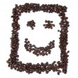 Smiley with coffee beans — Stockfoto