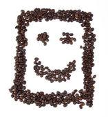 Smiley med kaffebönor — Stockfoto