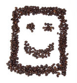 Smiley con chicchi di caffè — Foto Stock