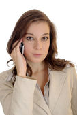 Young businesswoman talking on her cell — Stock fotografie