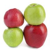 červená a zelená jablka, izolované na bílém — Stock fotografie