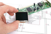 Display and circuit board with schemati — Stockfoto