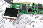 Display and circuit board with schemati — Stok fotoğraf
