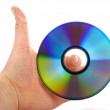 Hand holding a bluray disk — Stock Photo