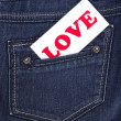 Jeans pocket with label — Stock Photo