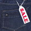 Blue jeans sale — Stock Photo