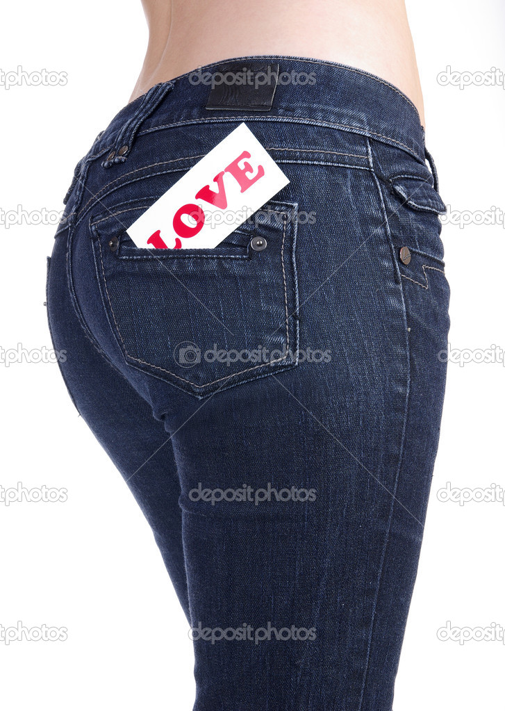 Jeans pocket with label love — Stock Photo #2551858