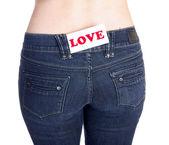 Jeans ficka kärlek — Stockfoto