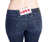 Jeans pocket love — Stockfoto