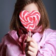 Beautiful girl with big lollipop — Stockfoto