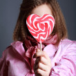 Beautiful girl with big lollipop — ストック写真