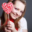 Stock Photo: Beautiful girl with big lollipop