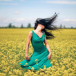 Happy beautiful woman in the field — Stock Photo #1679542