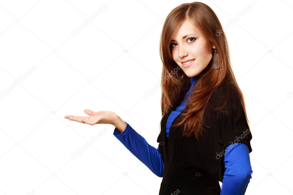 Young happy woman with hand gesture and copy space — Stock Photo #1672888