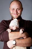 Lycklig far med son — Stockfoto